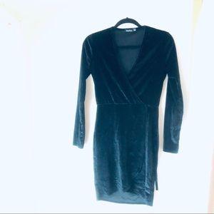 Asos Boohoo Black Velvet Dress
